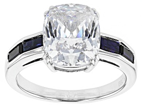 White Cubic Zirconia And Lab Created Sapphire Silver Ring 7.15ctw