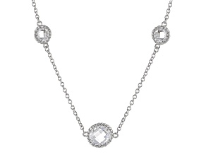 Cubic Zirconia Rhodium Over Sterling Silver Necklace 33.28ctw (22.96ctw DEW)