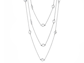 Cubic Zirconia Silver Triple Strand Necklace 32.13ctw (26.04ctw DEW)