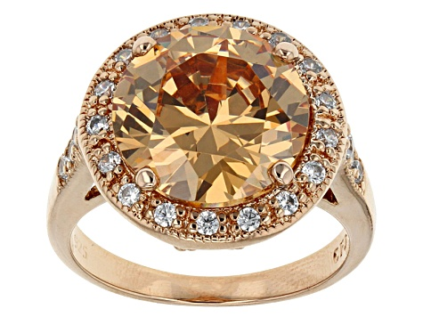 Brown And White Cubic Zirconia 18k Rose Gold Over Silver Ring 11.59ctw (7.34ctw DEW)