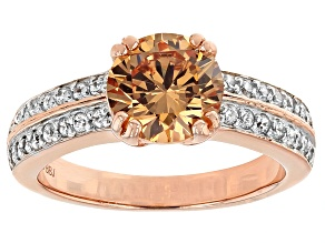 Brown And White Cubic Zirconia 18k Rose Gold Over Silver Ring 3.79ctw (2.36ctw DEW)