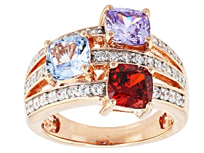 Blue/Red/Purple/White Cubic Zirconia/Blue Spinel 18k Rose Gold Over Silver Ring 5.13ctw