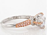 Pink And White Cubic Zirocnia 18k Rose Over Silver And Rhodium Over Silver Ring 4.18ctw