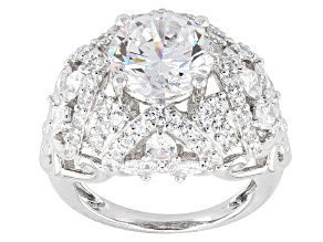 White Cubic Zirconia Rhodium Over Silver Ring 11.33ctw
