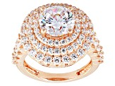 White Cubic Zirconia 18k Rose Gold Over Silver Ring 8.01ctw