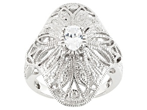 White Cubic Zirconia Rhodium Over Silver Ring .91ctw