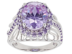 Purple Cubic Zirconia Rhodium Over Sterling Silver Ring 10.02ctw