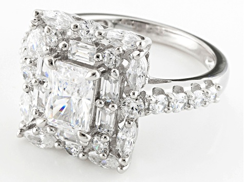 White Cubic Zirconia Rhodium Over Silver Ring 4.87ctw