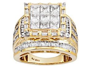 Cubic Zirconia 18k Yellow Gold Over Silver Ring 6.47ctw (5.79ctw DEW)