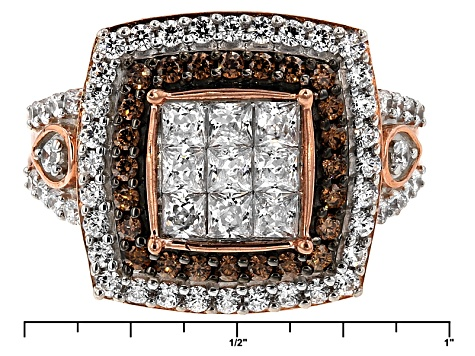 White And Brown Cubic Zirconia 18k Rose Gold Over Silver Ring 3.52ctw (1.91ctw DEW)