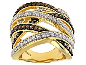 Brown And White Cubic Zirconia 18k Yellow Gold Over Silver Ring 2.73ctw (1.41ctw DEW)