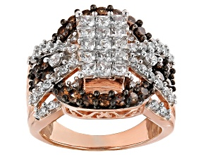 White And Brown Cubic Zirconia 18k Rose Gold Over Silver Ring 3.74ctw (2.14ctw DEW)