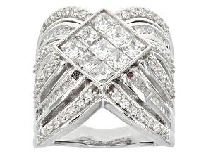 Cubic Zirconia Silver Ring 5.37ctw (3.06ctw DEW)