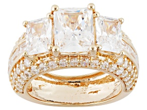 White Cubic Zirconia 18k Yellow Gold Over Silver Ring 10.96ctw