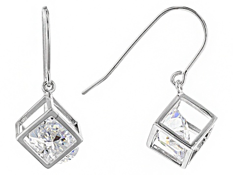 White Cubic Zirconia Rhodium Over Silver Earrings 8.36ctw
