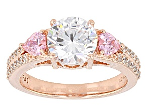 Pink And White Cubic Zirconia 18k Rose Gold Over Silver Ring 4.22ctw