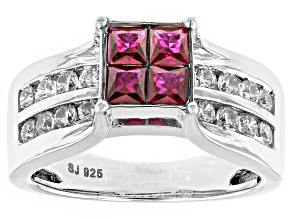 Lab Created Ruby And White Cubic Zirconia Silver Ring 2.08ctw