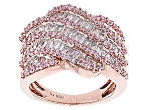Pink And White Cubic Zirconia 18k Rose Gold Over Silver Ring 4.35ctw