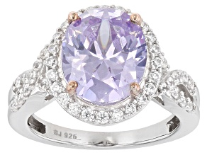 Lavender And White Cubic Zirconia Rhodium And 18k Rose Gold Over Silver Ring 9.54ctw