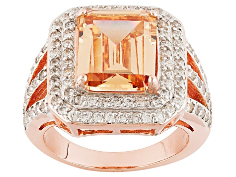 Brown And White Cubic Zirconia 18k Rose Gold Over Silver Ring 8.50ctw (6.53ctw DEW)