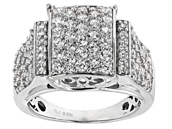 Picture of Cubic Zirconia Rhodium Over Sterling Silver Ring 3.95ctw (1.88ctw DEW)