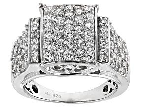 Cubic Zirconia Silver Ring 3.95ctw (1.88ctw DEW)