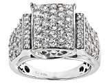 Cubic Zirconia Rhodium Over Sterling Silver Ring 3.95ctw (1.88ctw DEW)