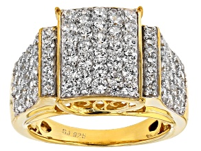 Cubic Zirconia 18k Yellow Gold Over Silver Ring 3.95ctw (1.88ctw DEW)