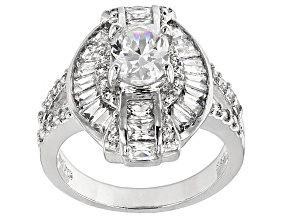 Cubic Zirconia Rhodium Over Sterling Silver Ring 4.71ctw (2.85ctw DEW)