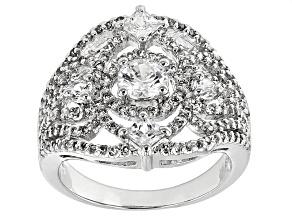 Cubic Zirconia Silver Ring 3.19ctw (1.79ctw DEW)