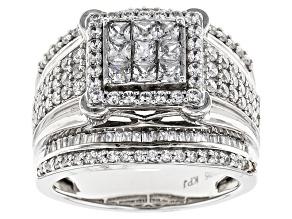 Cubic Zirconia Silver Ring 3.13ctw (2.10ctw DEW)