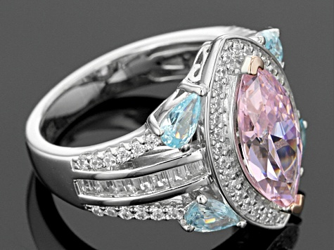 Bella Luce ® 7.08ctw Neon Apatite, Pink And White Diamond Simulants Rhodium Over Sterling Ring