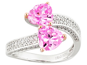 Pink And White Cubic Zirconia Silver Ring 5.22ctw (2.73ctw DEW)