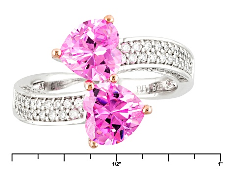 Pink And White Cubic Zirconia Silver Heart Ring 5.22ctw (2.73ctw DEW)