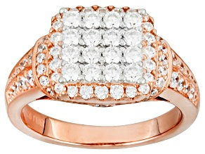 Cubic Zirconia 18k Rose Gold Over Silver Ring 2.26ctw (1.14ctw DEW)