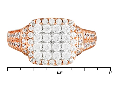 Cubic Zirconia 18k Rose Gold Over Silve Ring 2.26ctw (1.14ctw DEW)