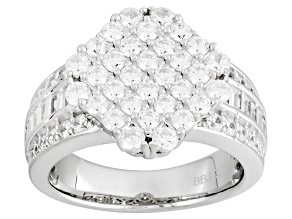 Cubic Zirconia Silver Ring 3.49ctw (1.98ctw DEW)
