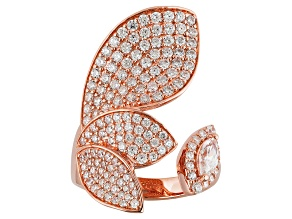 Cubic Zirconia 18k Rose Gold Over Silver Ring 3.18ctw (1.73ctw DEW)