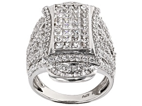 Cubic Zirconia Rhodium Over Sterling Silver Ring 6.92ctw (3.62ctw DEW)