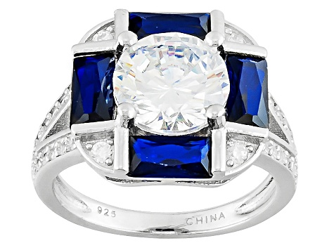 Blue Lab Created Spinel And White Cubic Zirconia Silver Ring 5.51ctw