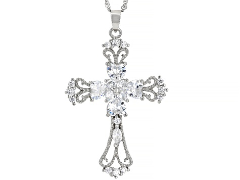 White Cubic Zirconia Silver Cross Pendant With Chain 4.70ctw