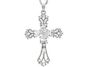 "White Cubic Zirconia Rhodium Over Silver Cross Pendant With 18""Chain and 2"" Extender 4.70ctw"