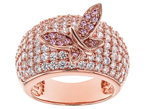 Pink And White Cubic Zirconia 18k Rose Gold Over Silver Butterfly Ring 6.00ctw (2.76ctw DEW)