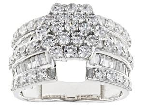 Cubic Zirconia Silver Ring 4.50ctw (2.29ctw DEW)