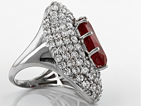 Lab Created Ruby And White Cubic Zirconia Silvver Ring 12.66ctw