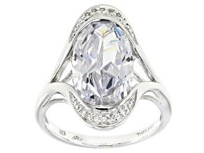 Cubic Zirconia Silver Ring 9.90ctw (5.83ctw DEW)