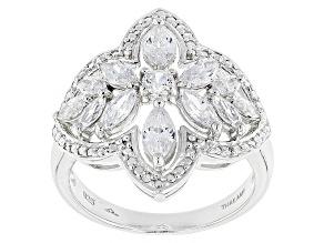 Cubic Zirconia Silver Ring 2.86ctw (1.63ctw DEW)