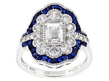 Picture of Lab Created Blue Spinel And White Cubic Zirconia Rhodium Over Silver Ring 3.57ctw