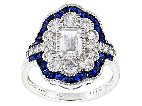 Lab Created Blue Spinel And White Cubic Zirconia Rhodium Over Silver Ring 3.57ctw