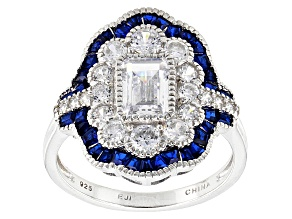 Synthetic Blue Spinel And White Cubic Zirconia Silver Ring 3.57ctw